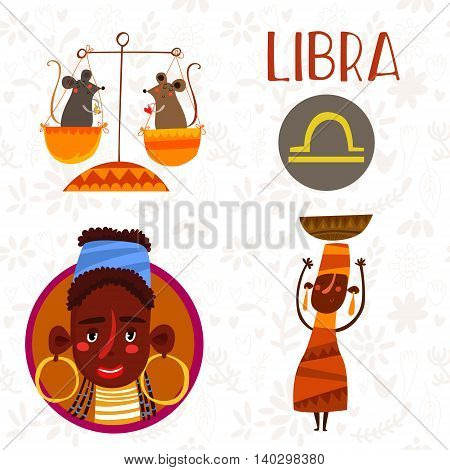 Cute Zodiac Sign-libra-different  Illustrations  In Cartoon Style. Lovely Design For Adults And Kids