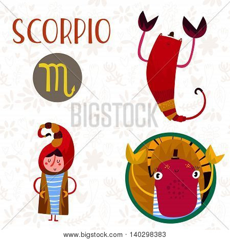 Cute Zodiac Sign-scorpio-different  Illustrations  In Cartoon Style. Lovely Design For Adults And Ki