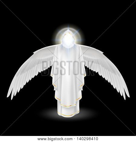 Gods guardian angel in white with wings down on black background. Archangels image. Religious concept