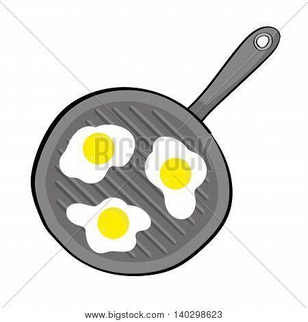 View from above of three eggs frying on a griddle pan