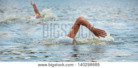 Triathlon Cup of Ukraine and Cup of Bila Tserkva. July 24 2016 in Bila Tserkva Ukraine. Triathlon swimmers on race