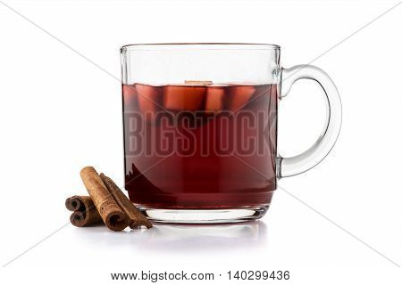 Hot Mulled Wine Isolated On White Background