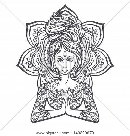 Ornament beautiful card with Vector yoga pose. Element hand drawn. Balance karma medallion yoga india arabic harmony spiritual, mental and physical practices in the areas of Hinduism and Buddhism