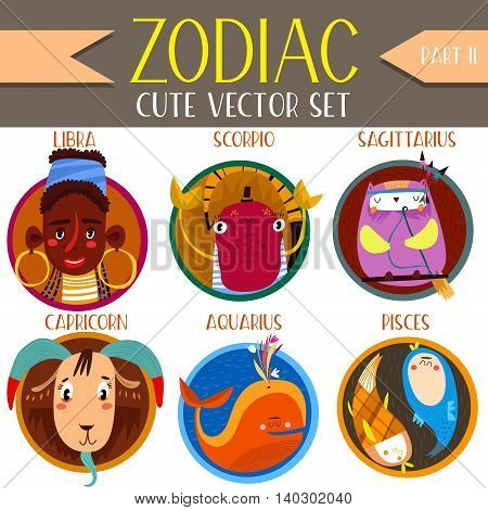 Cute Vector Set Of Zodiac Signs.part 2: Libra, Scorpio, Sagittarius, Capricorn, Aquarius,pisces. Cut
