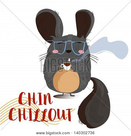 Concept Card With Cute Cartoon Chinchilla.illustration Of Cartoon Animal With Text  Isolated On Whit