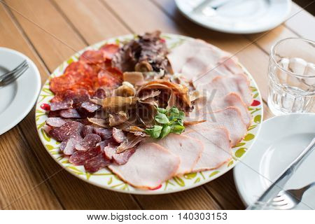 Tasty Appetizer.  Plate Of Smoked Meat Or Ham