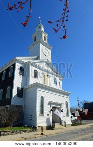 St. Paul's United Methodist Church was built in 1805 with the Colonial style in downtown Newport, Rhode Island, USA.