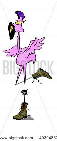 Pink flamingo as a punk rocker with Mohawk hair, spike bracelet and boots