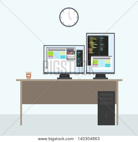 Programmer working place with two monitors. Full stack or Front end or Back end web developer. working desk setup with opened project on the monitors