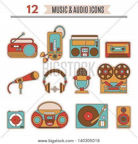 Music and audio icons symbols of retro tape cassette boombox turntable records.