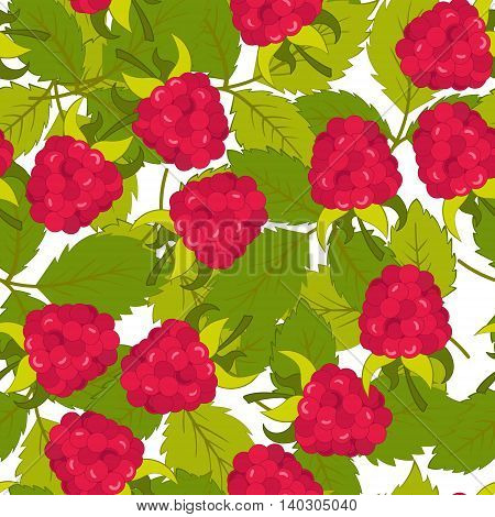 Seamless pattern with leaves and raspberry. Background for your design with bright contrasting red berries and green leaves. Vector illustration.