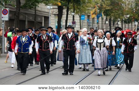 ZURICH - AUGUST 1: Swiss National Day parade on August 1, 2011 in Zurich, Switzerland. Representatives of canton Appenzeller in a historical costumes.