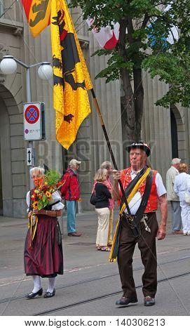 ZURICH - AUGUST 1: Swiss National Day parade on August 1, 2011 in Zurich, Switzerland. Representative of canton Appenzeller in a historical costume.