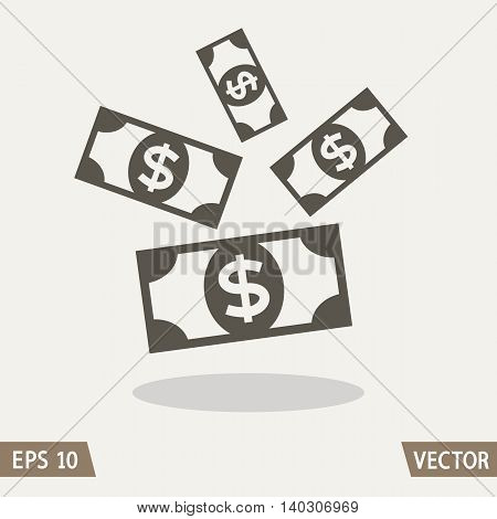 Money flat icon dollar symbol money rain. Vector illustration for web and commercial use.