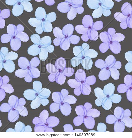 A seamless floral pattern with watercolor hand-drawn tender blue spring flowers, painted on a dark background poster