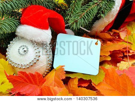 Christmas decoration Santa Claus hat and pinetree on the background of autumn leaves.