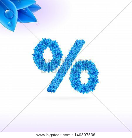 Sans serif font with blue leaf decoration on white background. Per cent sign