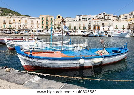 LIPARI ITALY - MAY 24: Harbor of Lipari at the Aeolian islands on May 24 2016 at Sicily Italy