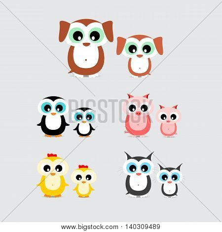 set of cute cartoon animals like hen chicken dog puppy cat kitten pig piglet and penguin with child isolated on light background