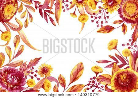 Hand drawn watercolor autumn foliage and flowers rectangle frame. Yellow and red floral elements. Fall Foliage sketch background.