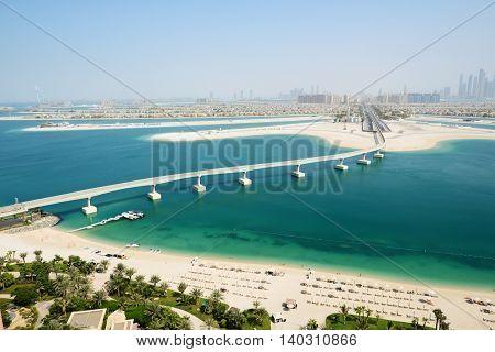 View on Jumeirah Palm man-made island Dubai UAE