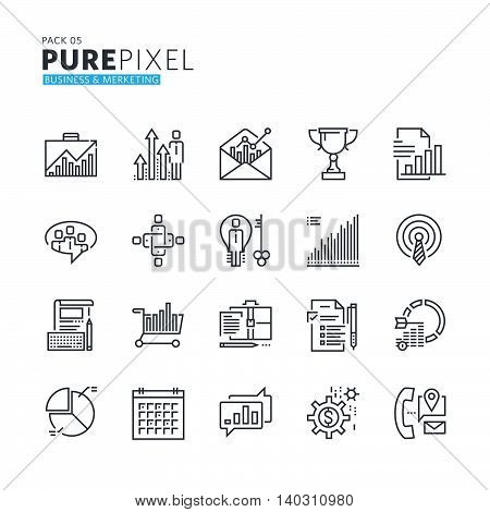 Set of modern thin line pixel perfect icons of business and marketing. Premium quality icon collection for web design, mobile app, graphic design.
