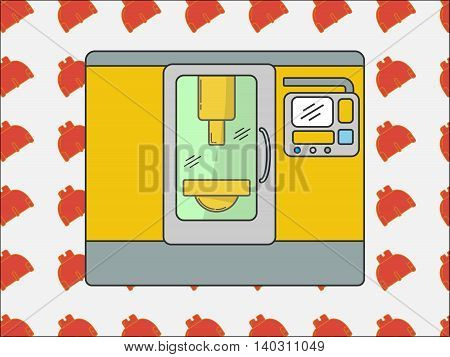 Metalworking cnc center with tool background in modern line style.