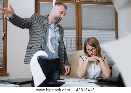 Boss Is Angry Of Employee. Office Worker Made A Mistake