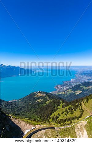 Aerial view of Lake Geneva and Montreux city from the view platform on Rochers-de-Naye on a sunny summer day in canton of Vaud Switzerland.