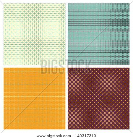 Set of 4 abstract geometrical seamless patterns. Vector Illustration