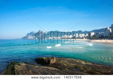 Early morning on the Ipanema beach Rio de Janeiro Brazil