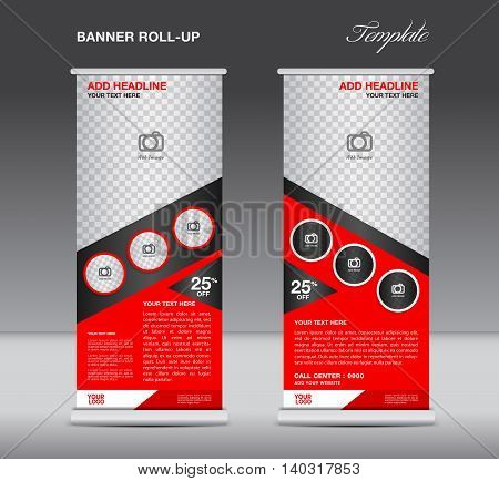 Red Roll up banner stand template display advertisement flyer vector