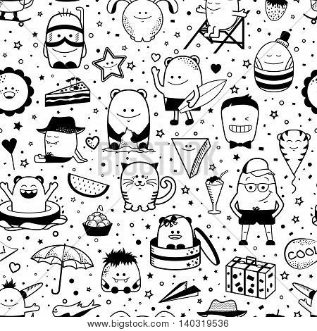 Vector summer seamless pattern with funny monsters, personage. Cool black and white hand drawn characters.