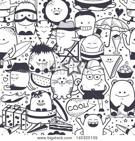 Vector summer seamless pattern with funny monsters, personages. Cool black and white hand drawn characters.