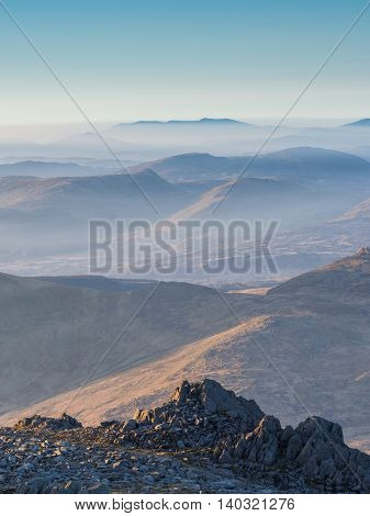 View from the Glyders on a hazy morning, Snowdonia, Wales