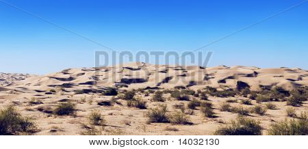 Panorama compiled from 3 pictures of the Imperial sand dunes in California.