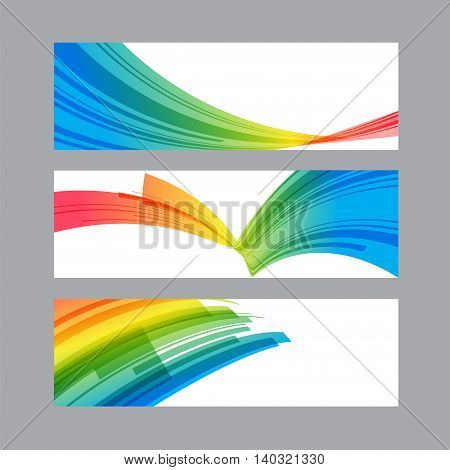 Set banners of curved multicolored elements, vector illustration