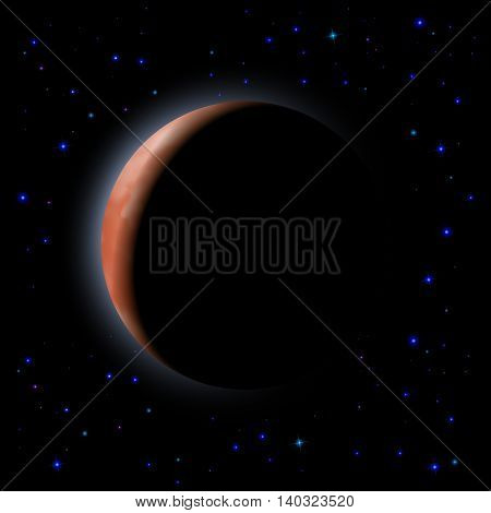 Eclipse of the planet on the black background. Shining stars.