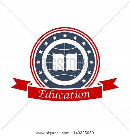 Education emblem design with book, globe, red ribbon and stars. Vector circle insignia label for university, college, high school. Education and study graphic shield.