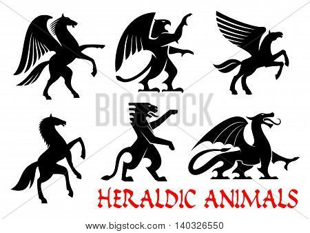 Heraldic animals icons. Pegasus, Griffin, Dragon, Lion, Horse, Tiger, Unicorn silhouettes. Gothic mythical creatures for tattoo, heraldry or tribal shield emblem