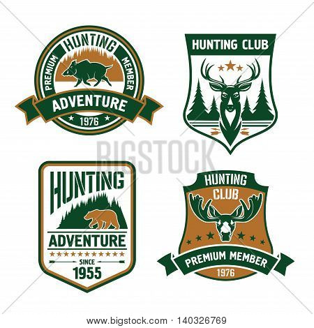 Hunting club shields set. Vector hunt sports emblems with animals, boar, deer, elk, bear, antlers, arrows, forest. Hunter premium member shield for badge, t-shirt outfit
