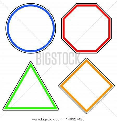 Set Of Roadsigns. Circle, Octagon (stop Sign), Triangle And Square Road Signs