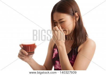 Beautiful Healthy Asian Girl Hate  Tomato Juice.