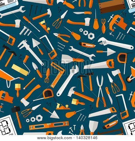 Construction and repair tools seamless pattern wallpaper. Carpentry flat icons background. Carpenter and builder working elements. Vector hammer, axe, ruler, hatchet, saw, screw driver, ruler, knife poster