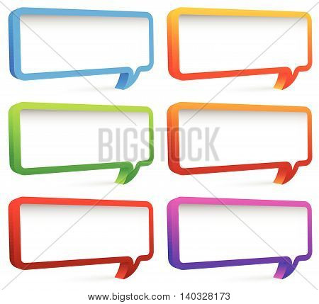Set Of Colorful Rectangular Speech Bubbles With Empty Space