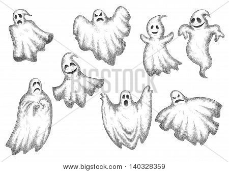 Halloween funny cartoon ghosts vector icons. Cute and scary artistic spooks with face expressions
