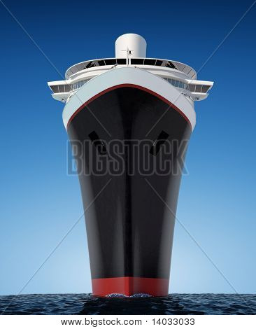 luxury white cruise ship shot from extreme angle at water level on a clear day with choppy seas and deep blue sky.