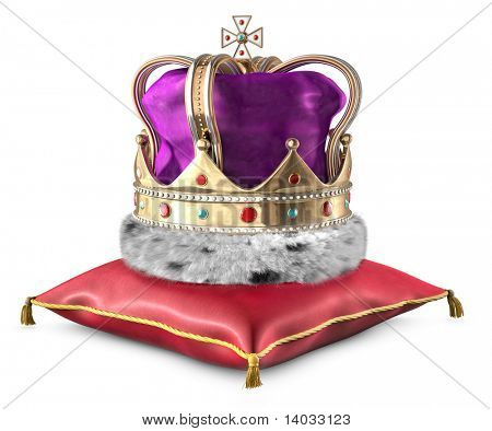 Kings crown on a pillow over a white background