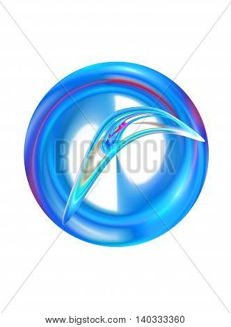 Abstract computer generated fractal round shape on white background