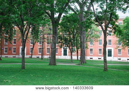 Harvard University Campus, ancient brick building and lawn in spring